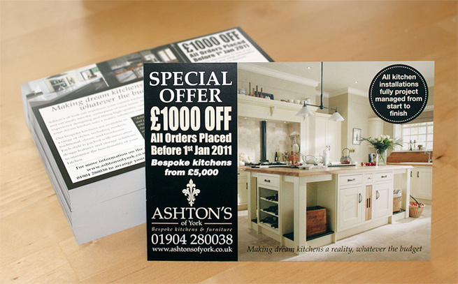 A5 leaflet we designed for York kitchen design company Ashton's of York