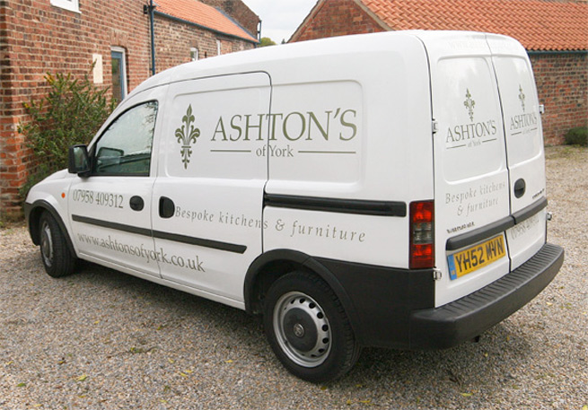 Ashton's of York van with it's new livery