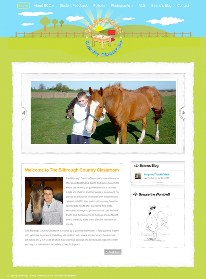 Wordpress website we created for Bilbrough Country Classroom