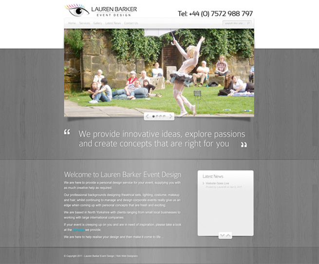 Website design with content management system for York Event Design company Lauren Barker Event Design
