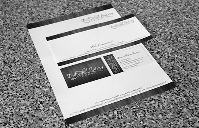 Business stationery for the Driftwood Bakery consisting of Letterheads, Compliment Slips and Business Cards
