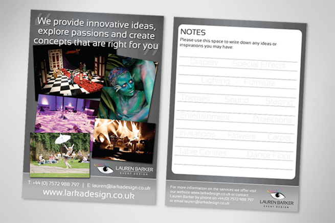 A5 full colour leaflet design and print for York event company Lauren Barker Event Design