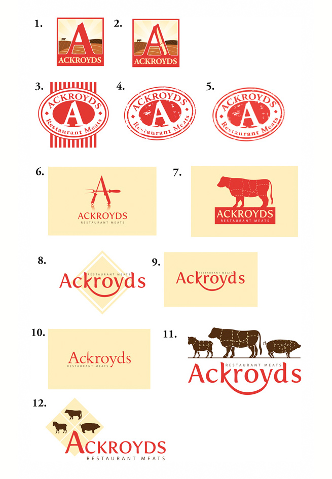 The initial logo design concepts for Ackroyds