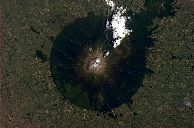 volcano photograph taken from space