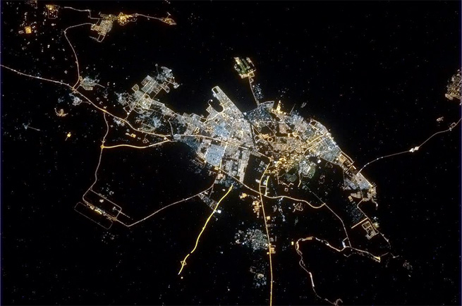 photograph of lisbon, portugal at night taken from space